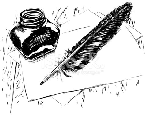 quill sketchbook ink quill and bottle vector stock vector