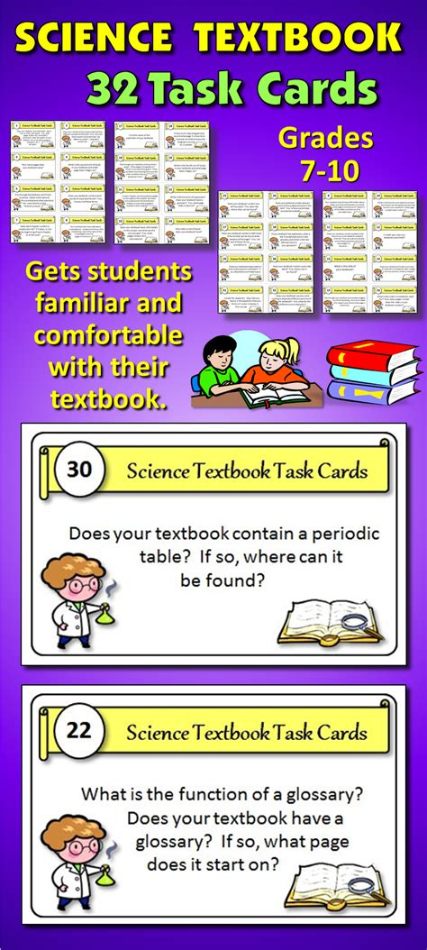 science task card template science textbook task cards great course opener with