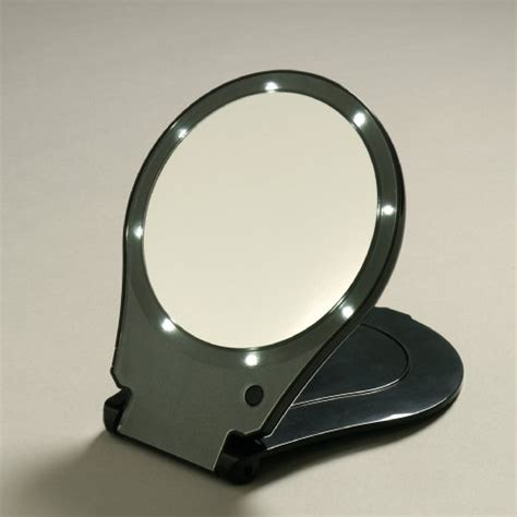 E L F Travel Mirror floxite 5x magnifying 360 degree lighted home travel