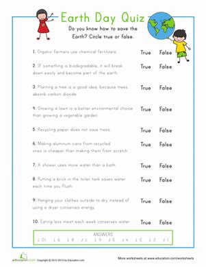 earth day quiz earth day quiz worksheet education