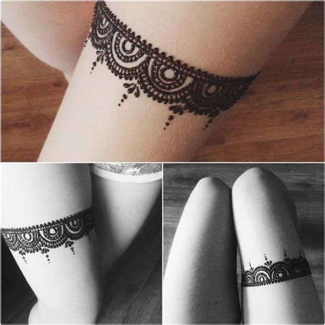 henna tattoo on thigh best 25 lace thigh tattoos ideas only on