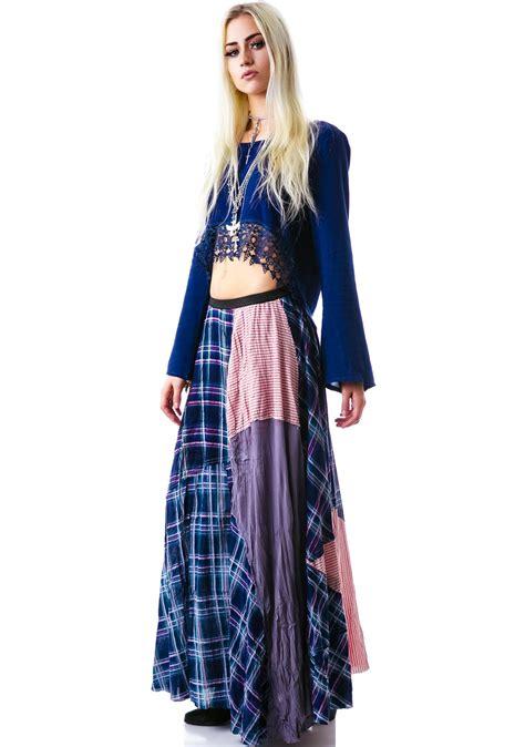 patchwork bohemian maxi skirt dolls kill