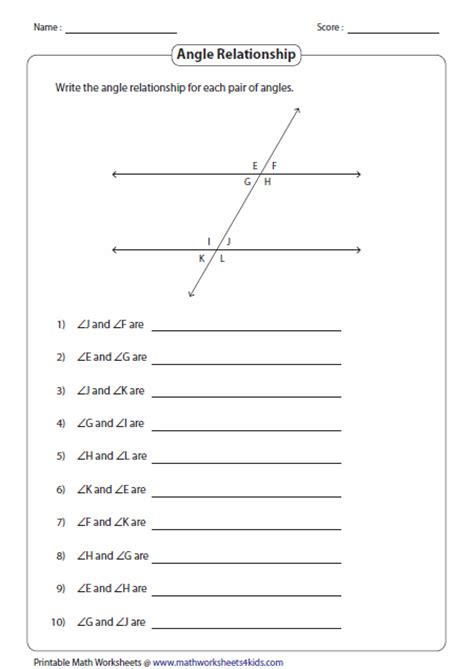 Line And Angle Relationships Worksheet Answers by Angles Formed By A Transversal Worksheets