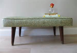 Patterned Upholstered Bench Mid Century Modern Vinyl Tufted Bench Green
