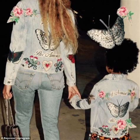 beyonce and blue ivy look cute in matching gucci jean