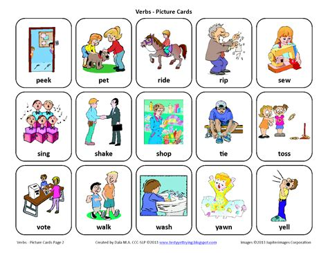printable pictures verbs testy yet trying verbs free speech therapy picture cards