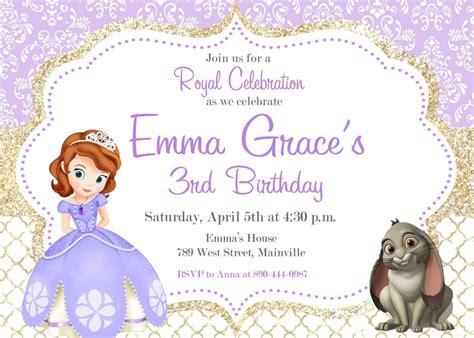 Sofia The First Birthday Party Invitation Digital Or Printed Sofia The Invitation Template