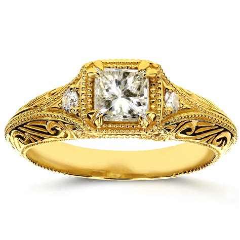antique filigree engagement ring 5 8 ctw in 14k