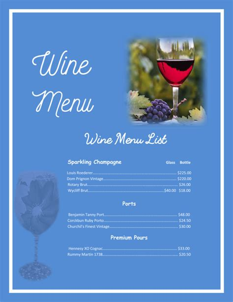 wine dinner menu template drink menu template 5 best drink menu formats