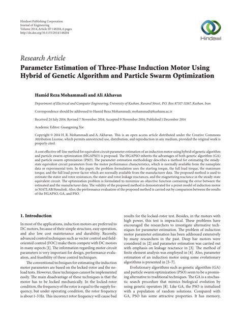 induction motor and parameter estimation parameter estimation of three phase induction motor using hybrid of genetic algorithm and