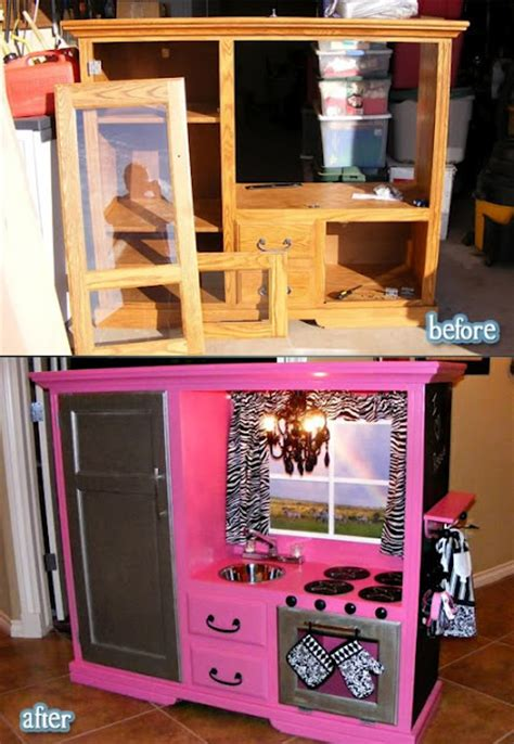 old furniture turned diy play kitchen turn an old entertainment center into a play kitchen we