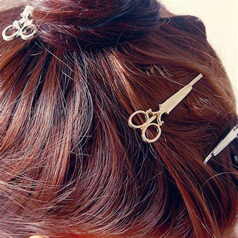 Ikat Rambut Mini Warna jepit rambut lucu model gunting silver jakartanotebook