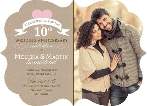 10 year anniversary card template pink 10th wedding anniversary invitation 10th