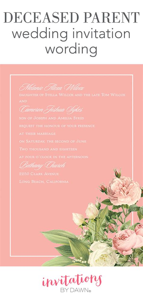 deceased parent wedding invitation wording invitations by