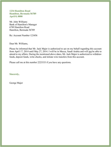 authorization letter to deposit money inthe bank 10 best authorization letter sles and formats