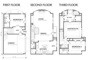 3 floor house plans 3 story multi unit townhouse floor plan