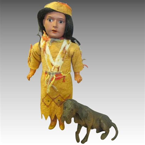 bisque indian doll antique bisque indian doll with his hound