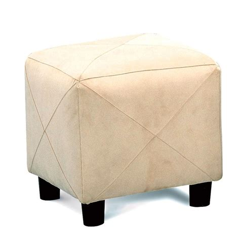 X Ottoman Taupe Casual X Accent Stitching Cube Shaped Ottoman