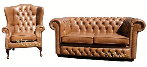 leather sofa suite deals chesterfield 2 seater settee wing chair old english tan
