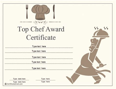 chef certificate template special certificates chef award certificates