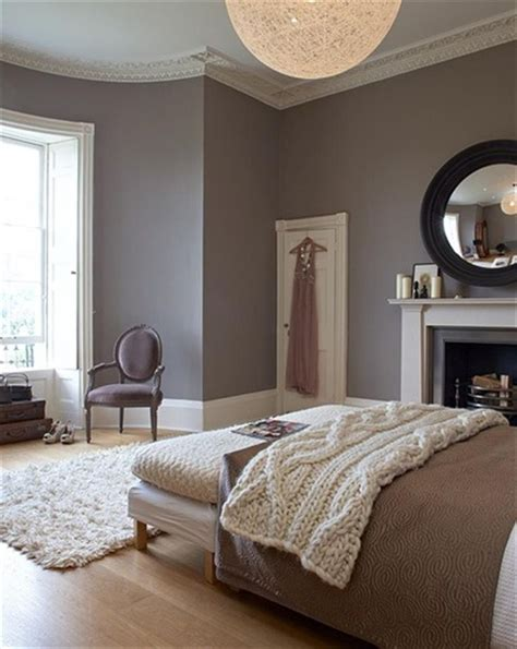 grey bedroom with molding decorating and color schemes