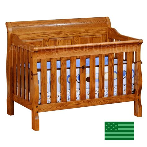 Usa Baby Cribs Sleigh Panel 4 In 1 Convertible Baby Crib Solid Wood Made In Usa American Eco Furniture