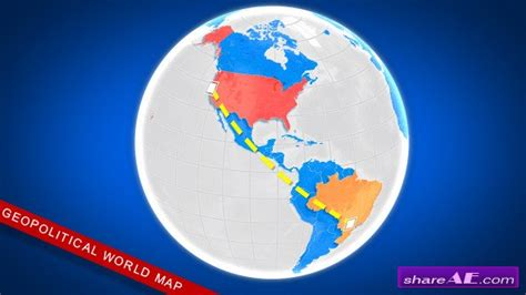 Videohive 3d Geopolitical World Map 187 Free After Effects Templates After Effects Intro 3d Globe After Effects Template