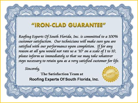 Guarantee Letter For Waterproofing Work Metal Roof Experts Your Leak Experts