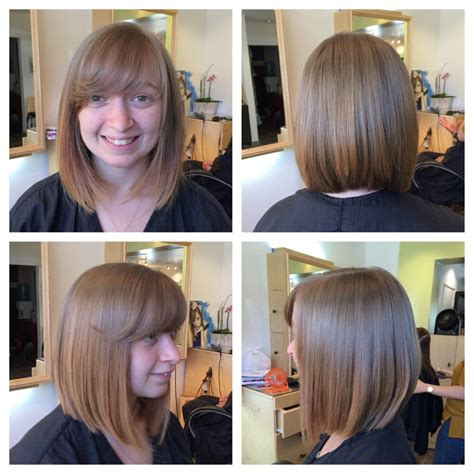 a line bob with swoopy bangs cut off over 6 inches to create this beautiful a line bob