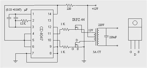 converter dc ke ac dc to ac inverter with ic cd4047 circuit diagram