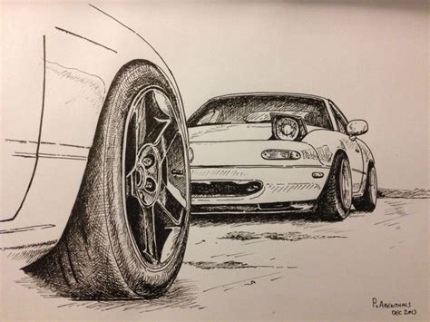 miata drawing mazda miata mx5 car illustration mazda