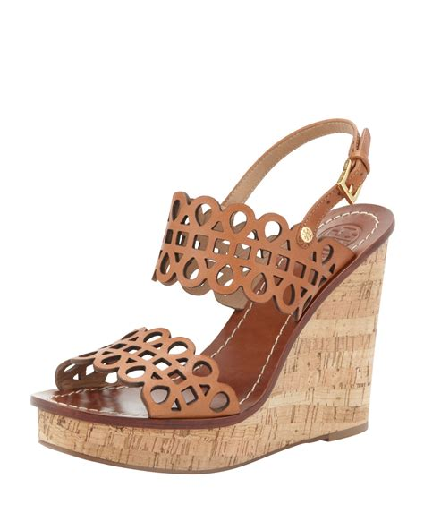 Wedges Sandal Laser burch nori lasercut wedge sandal vintage vachetta in brown vintage vachette lyst