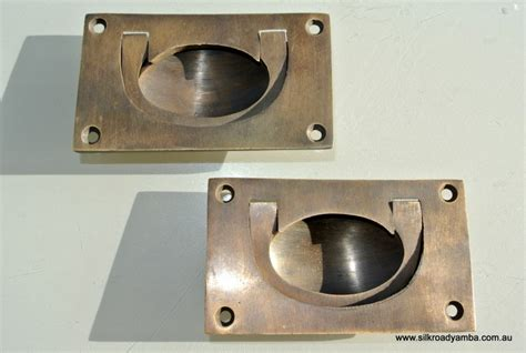 Recessed Brass Drawer Pulls by 2 Heavy Recessed Pulls Handles Box Antique Solid Brass
