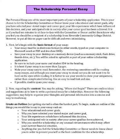 scholarship essay template 7+ free word, pdf documents