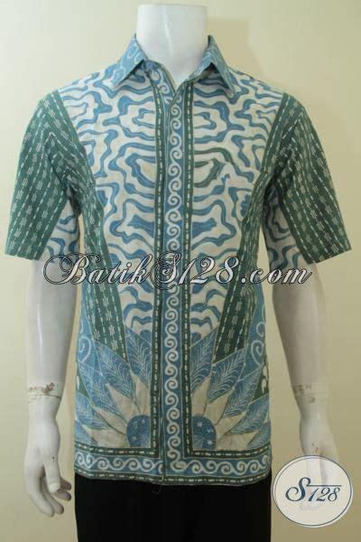 Kemeja Batik Tulis Indigo 075 pakaian batik modern pria warna alam biru indigo