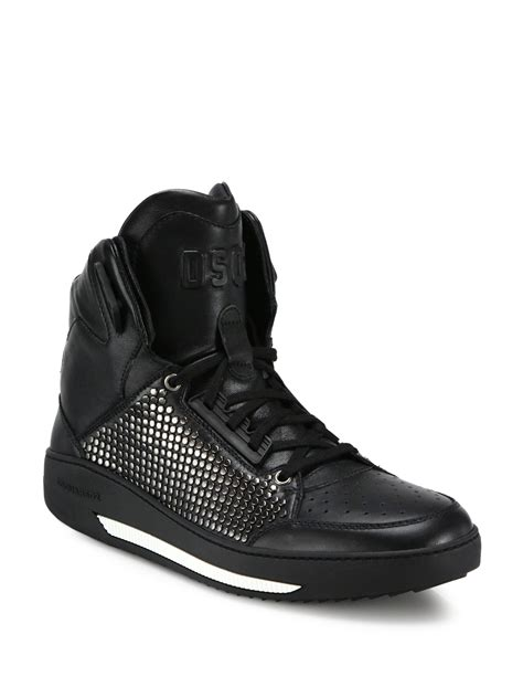 studded high top sneakers lyst dsquared 178 vitello studded sport high top sneakers