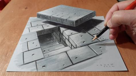 How To Make 3d Sketch On Paper - 3d drawing tunnel stairs how to draw stairs artistic