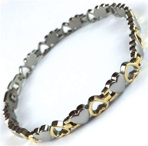 Bangle Titanium 8 howthebandworks titanium 2 hearts polished bracelet