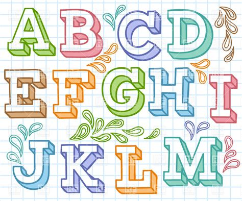 printable fonts for bulletin boards multi colored hand drawn font with decorations royalty