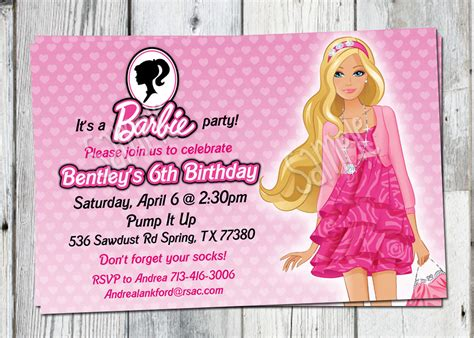 printable birthday invitations barbie barbie birthday invitation printable doll by partyprintouts