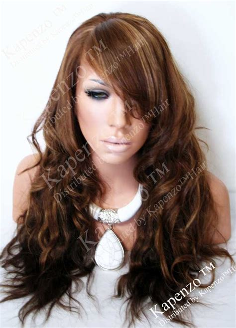 pics of different tones of highlights bangs only natural wavy custom two tone full lace wig with highlights