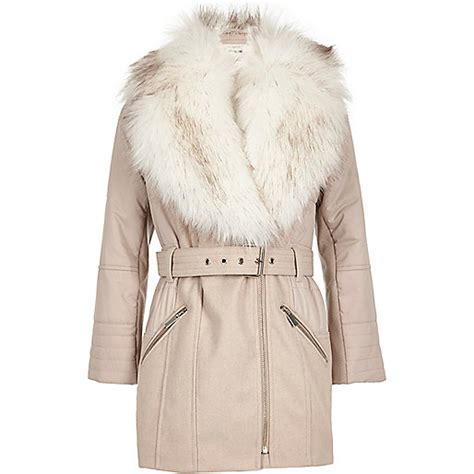 Faux Fur Padded Jacket light pink faux fur padded jacket coats coats