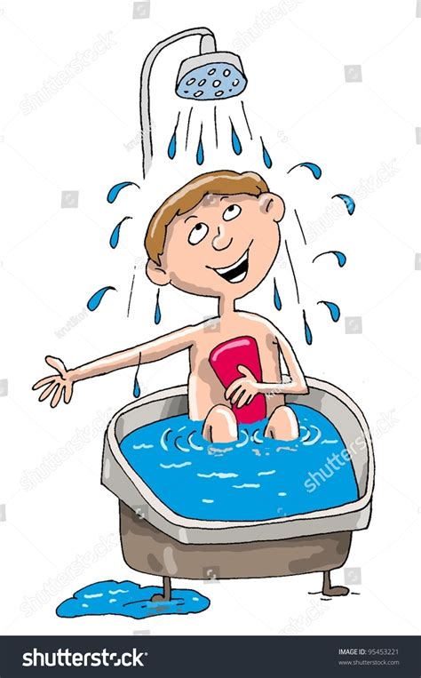 Takes A Shower by Washed Bath Boy Takes Shower Smiles Stock Illustration