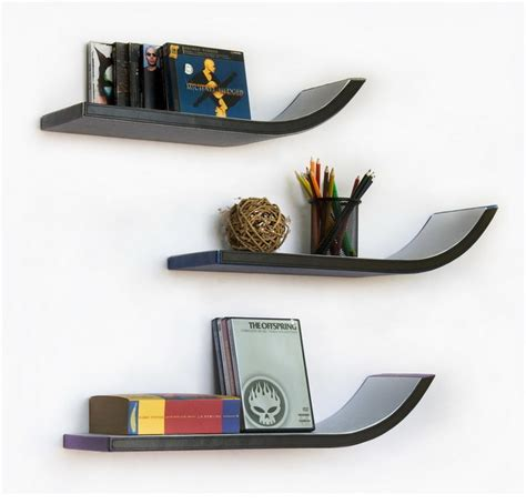 Stylish Shelf by Week Four Stylish J Type Leather Wall Shelf Floating