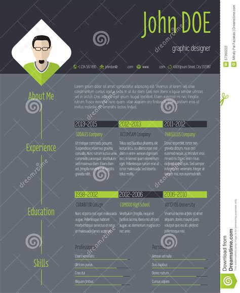 background cv modern resume cv with photo and dark background stock