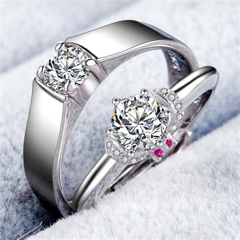 925 Silver Plated White Gold Beautifully Wedding/Engagement Couple Rings   Couple Rings