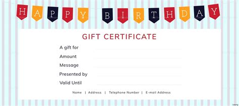 Template For Alternative Gift Card by Template Birthday Gift Certificate Template Word