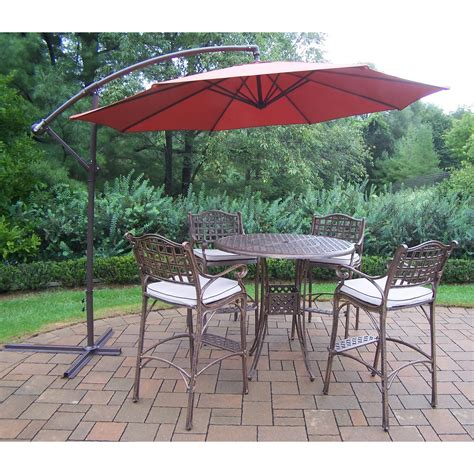 Patio Umbrella Set Oakland Living Elite Cast Aluminum 5 Patio Bar Set With Cushions And Cantilever Umbrella
