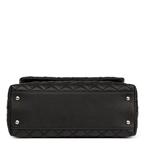 coco handle medium size chanel black quilted caviar leather medium coco handle