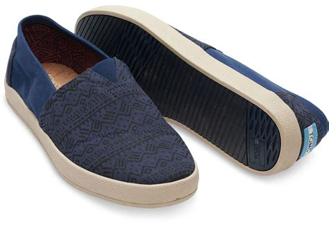 Nuflag Sandal Tribes Navy Navy toms navy printed twill s avalon slip ons in blue for